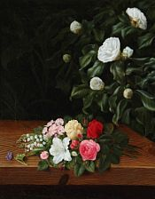 I. L. Jensen, school, 19th century: Flower bouquet on a sill at a white camillia bush and elephant ear. Indistinct signature. Oil on canvas. 50 x 41 cm