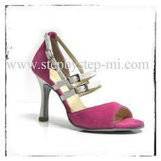 Sandalo in camoscio rosa e glitter bianco  #salsa #bachata #stepbystep #scarpedaballo #danceshoes  #glitter #sandal #sandali #scarpedaballo