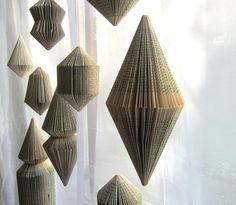 Folded book pages as decorations
