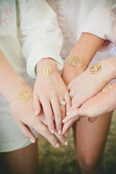 Items similar to Bridesmaid Gift Idea - 5 Gold Monogram Bracelet inch - Personalized Monogram - Gold Plated on Etsy Bridesmaids And Groomsmen, Be My Bridesmaid, Wedding Bridesmaids, Bridesmaid Gifts, Bridesmaid Jewelry, Gifts For Wedding Party, Our Wedding, Dream Wedding, Party Gifts