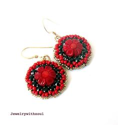 Bead embroidery earrings with red bamboo coral by jewelrywithsoul, $35.00
