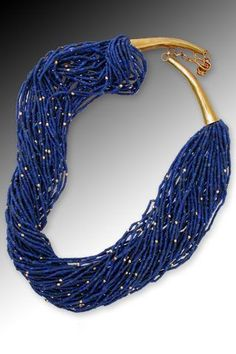 Into the Blue: Fifty strands of fine denim blue Afghani lapis lazuli heishi -- artfully accented with tiny faceted beads. Wear twisted torsade-style or simply hanging. Jewelry Art, Gemstone Jewelry, Beaded Jewelry, Fine Jewelry, Handmade Jewelry, Jewelry Necklaces, Beaded Necklace, Jewelry Design, Fashion Jewelry
