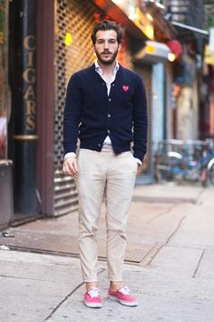 Navy cardigan, white shirt, khakis, pink tennis shoes...saw this and thought of Lex