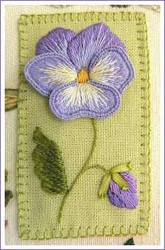 Stumpwork Embroidery - Pansy by Coeurdefreesia