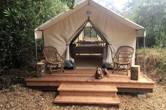 gazebo ideas Peaceful Safari Tent Camping in Coastal Woodlands near San Francisco Tent Camping Beds, Camping Glamping, Luxury Camping, Camping Hacks, Camping Gear, Outdoor Camping, Yurt Tent, Diy Camping, Camping Checklist