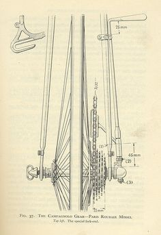 Campagnolo Paris-Roubaix diagram from the late Bici Retro, Velo Retro, Velo Vintage, Retro Bicycle, Bicycle Art, Bicycle Design, Vintage Bicycles, Cycling Art, Cycling Bikes