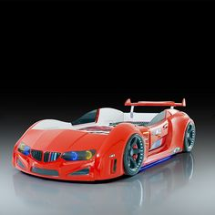 BMW Childrens Car Bed In Red With LED Lighting And Spoiler