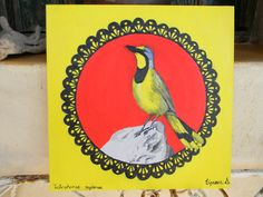 Painting I did of a Bokmakierie bird(Telophorus zeylonus) also indigenous to South Africa