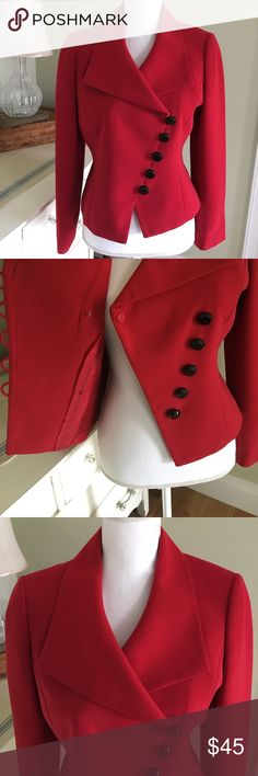 """SALE! Tahari Asymmetrical Red Blazer Price firm. This gorgeous red blazer from Tahari features long sleeves, interior red lining, black buttons and asymmetrical cut. No offers accepted. Size: 6P. Condition: EUC Chest: 19"""" Waist: 16.5"""" Length: 21"""" Stretch: No Tahari Jackets & Coats Blazers"""