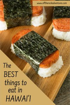 If you're planning a trip to Hawaii, half the fun is in trying the food there! It's where I'm from so I'm familiar with all the local favorites. Read more about all the best foods to eat on your Hawaii vacation. What to eat in Hawaii Hawaii Vacation Tips, Hawaii Travel, Vacation Ideas, Vacation Spots, Hawaiian Desserts, Spam Musubi, Delicious Desserts, Yummy Food, Plate Lunch