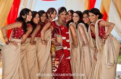 Real Life Inspirations for Co-ordinated Indian Bride and Bridesmaid Looks Indian Wedding Bridesmaids, Bridesmaid Saree, Bridesmaid Outfit, Brides And Bridesmaids, Indian Weddings, Bridesmaid Poses, Bridesmaid Gifts, Indian Bridal Party, Big Fat Indian Wedding