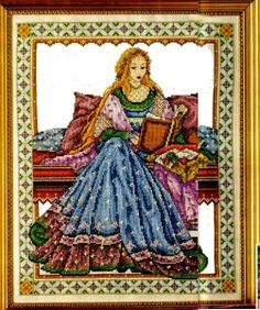 Schema punto croce - quadro con dama rinascimentale