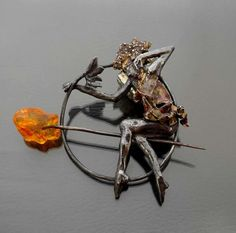 Acrobat   Silver Amber Pin - product images  of SCHJ  http://www.silverchamber.co.uk/collections/brooches/products/acrobat-silver-amber-pin