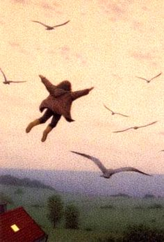 """Quint Buchholz (German, 1957) ~ The Flying Child (from """"Wer das Mondlicht faengt [Who the Moonshine Catches])"""
