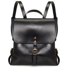 Black Leather Medium Backpack
