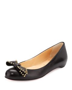 Christian Louboutin Spike-Bow Leather Red Sole Ballerina Flat, Black/Gold