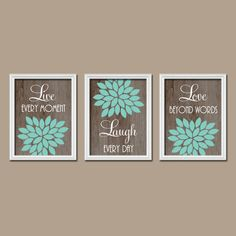 Turquoise Brown Wood Grain Custom Live Laugh Love by trmDesign, $29.00