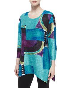 3/4-Sleeve Abstract-Print Tunic, Women's, Size: XL, Multi Colors - Berek