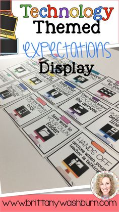 You can have an adorable and stylish classroom while still maintaining a highly academic environment! This set of Technology Themed Classroom Expectations Posters is colorful and creative so you can decorate your computer lab, media center, or classroom w
