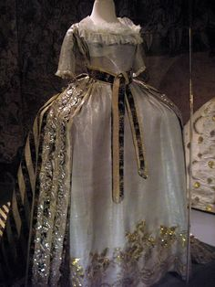 Dress, 1700-1790, silk with gold and silver threaded embroidery.