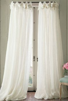 Linen Balloon Drapery Panel We adore the romantic, gauzy look of linen window panels, especially in the warmer months. Ours are beautifully detailed with delicate ruffled acce