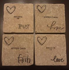 Love the hope coaster! Diy Coasters, Ceramic Coasters, Tile Projects, Vinyl Projects, Cork Crafts, Vinyl Crafts, Craft Day, Craft Gifts, Ceramic Tile Crafts