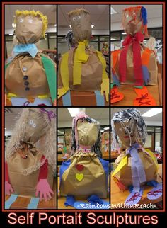 "Self portrait sculptures from paper bags. Preschool project ""All About Me"" --have students draw a self portrait, then replicate that in sculpture form-- All About Me Project, All About Me Art, Preschool Projects, Preschool Art, 3d Projects, Preschool Family, Preschool Curriculum, All About Me Preschool, Self Portrait Art"