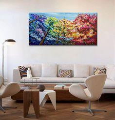 Arte pintura pintura de acrílico arte colorido árbol por elseart