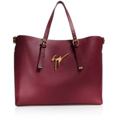 Giuseppe Zanotti Luisa Logo Tote ($1,320) ❤ liked on Polyvore featuring bags, handbags, tote bags, leather tote, purple purse, purple handbags, leather purses and leather tote purse