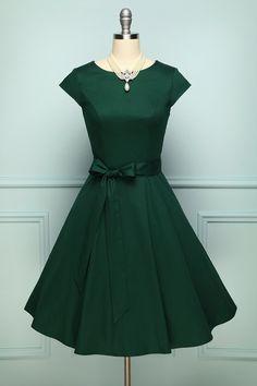 Vestidos Rockabilly, Rockabilly Dresses, 1950s Swing Dress, 40s Dress, Lolita Dress, Green Dress Casual, Casual Wear, Dark Green Dresses, Women's Casual