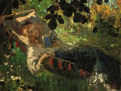 A girl reading in a hammock, Robert Archibalt Graafland. Dutch (1875 - 1940)