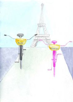 Just Married Bikes and Eiffel Tower Original Wedding Art by Zoia, $15.00