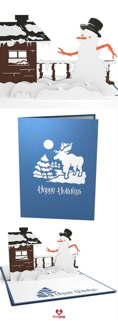 Send Holiday Cheer with a pop up snowman greeting card this Holiday Season. #ChristmasCards #HappyHolidays