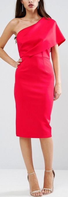 One Shoulder Scuba Deep Fold Midi Dress with Exposed Zip