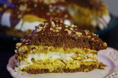 Karamelová torta s penou a praženými arašidami