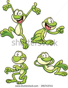 Cartoon frog in different poses. Vector clip art illustration with simple…