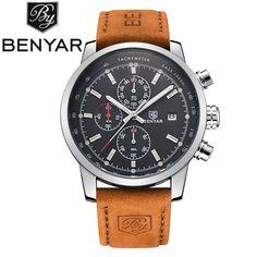 US $199.90 - Benyar Brand Men's Sport Watch Top Brand Luxury Male Waterproof Chronograph Quartz Military Leather Wrist Watch Men Clock saat