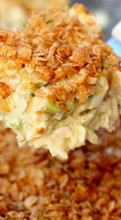 Chicken Casserole... cooked chicken, fresh diced celery, can of cream of chicken soup, mayo, rice - will probably omit the almonds (and eggs)
