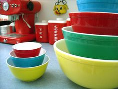 Vintage toy Pyrex Primary Color Bowls