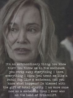Judy Martin {asylum} perfect quote on the thigh Ahs Asylum, American Horror Story Asylum, Tell My Story, Horror Show, Photo Quotes, Music Tv, Best Shows Ever, Movies Showing, Horror Stories