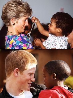 """GIVING KIDS A LIFT...(THEN): Diana beamed during a visit to a hostel for HIV-positive and abandoned children in Sao Paolo, Brazil, in 1991. (NOW): . """"[Harry] has inherited his mother's extraordinary empathy,"""" a senior Palace source has said of the younger Prince. """"He engages with children and young people."""