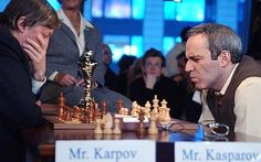 KASPAROV AND KARPOV: Chess grandmasters Kasparov and Karpov prepare to meet again