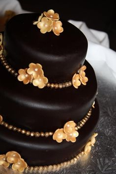 Dark chocolate brown wedding cake