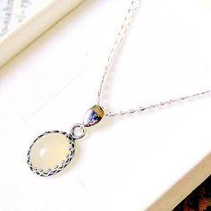 Vintage Natural Welo Opal Necklace Silver 925 / Náhrdelník s oválnym príveskom opálu - Striebro Ag 925