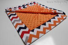 Mitered Corner Chevron Minky Blanket in Orange by SewAwesomeShop
