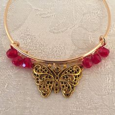 Butterfly Charm And Red Aurora Borealis Crystal Adjustable Wire Bangle Bracelet Gold Tone by cbfcreationsHB on Etsy