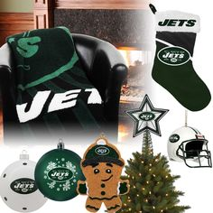 New York Jets Christmas Ornaments, Stocking, Tree Topper, Blanket