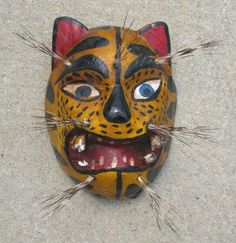 Vintage Mexican Mask El Tigre Wooden Tiger Jaguar Nahua Indians Mexico 5x6 5in | eBay