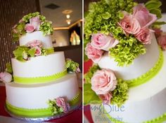 Beautiful floral pink and lime wedding cake.  Click on image to see more of this wedding at Reflections at the Buttes.
