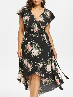 Plus Size Floral Flowing Overlap Tulip Dress - BLACK 2X